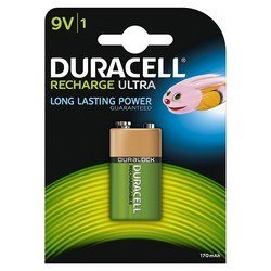 Pile Rechargeable 9V Duracell Recharge - 170 Mah