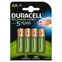 Piles Rechargeables AA Duracell Recharge x 4 - 2500 Mah
